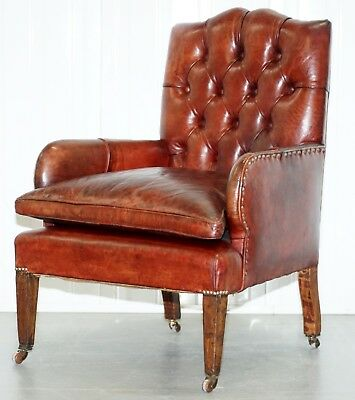 Rare Victorian Small Lounge Library Reading Chesterfield Brown Leather Armchair