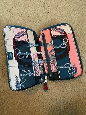 Authentic HERMES zip around leather agenda/wallet Blue + Pink Silk Scarf