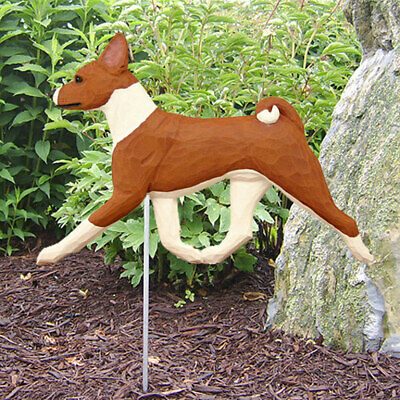 Basenji Outdoor Garden Sign Hand Painted Figure Red/White