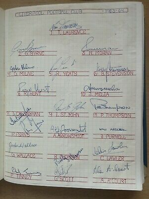 Football. Original autographs of the english champions 1963-4 FC Liverpool