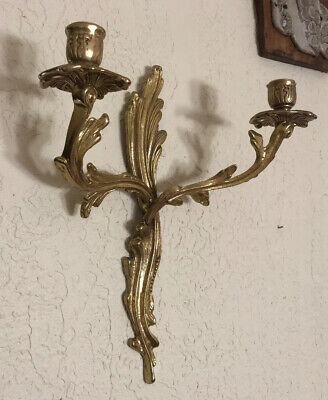 Mid Century Hollywood Regency Solid Brass Ornate Double Arm Candle Sconce Holder