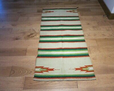 Vintage Hand Woven Wool Banded Double Western Horse Blanket or Rug