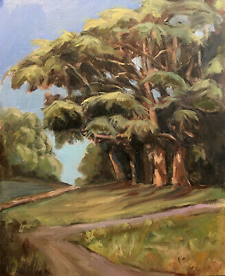 Original Oil Art Painting Mountains Forest Cove Trees Signed LANDSCAPE KEG
