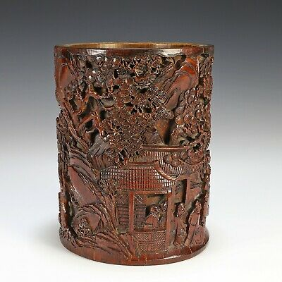 Large Signed Old Chinese Carved Bamboo Brush Pot with Great Detail
