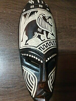 Mask African Carved Wood Special price Hand Vintage Art Wooden Face Decor 1184