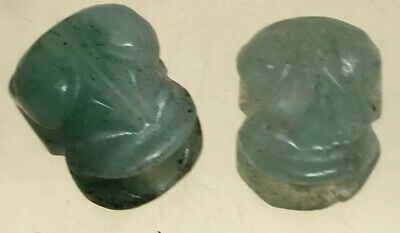 Vintage Chinese Carved Jade Frogs Beads 2 Pieces #128