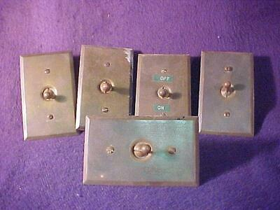 5 Matching Antique Toggle Light Switches w/ Solid Brass Cover Plates