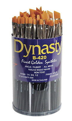 Dynasty B-420 Cylinder Golden Synthetic Short Lacquered Handle Paint Brush Set,