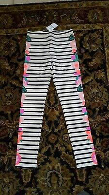 J Crew Crewcuts Girls Every Day leggings in striped flowered SIZE 8 NWT