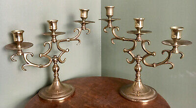2 Pc. Vintage Rare GRADUATED HEIGHT BRASS CANDELABRA Pair Solid Three Arm Light