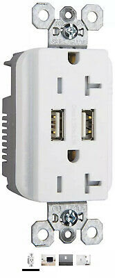 Legrand White 20-Amp Decorator Tamper Resistant Commercial Usb Outlet