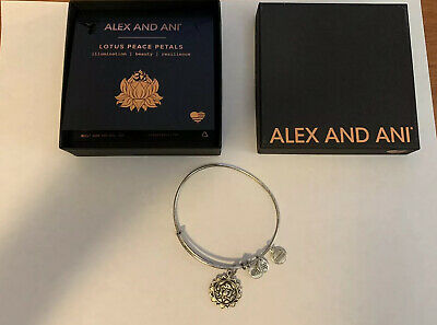 Alex and Ani Sacred Stud Lotus Peace Petals Necklace Silver Plated Rare