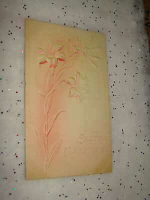Antique EASTER GREETINGS Lily Flowers Lilies Embossed Postcard