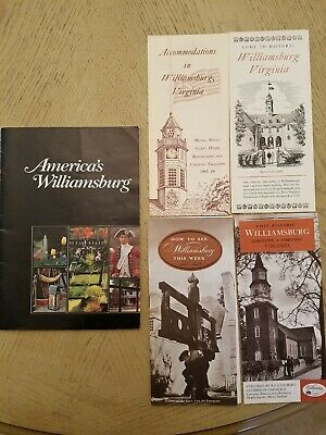VTG Lot of 5 Williamsburg Virginia Brochures Accomodations History Book Yorktown