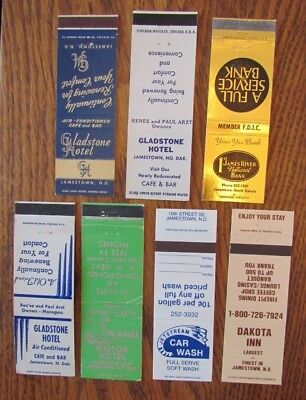 Jamestown, North Dakota: Lot Of 7 Different Matchbook Matchcovers -H