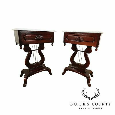 Kimball Victorian Style Solid Mahogany Marble Top Pair Lyre Base Side Tables