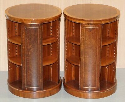 Matching Pair Of Burr Walnut Revolving Library Study Bookcases Adjustable Shelf