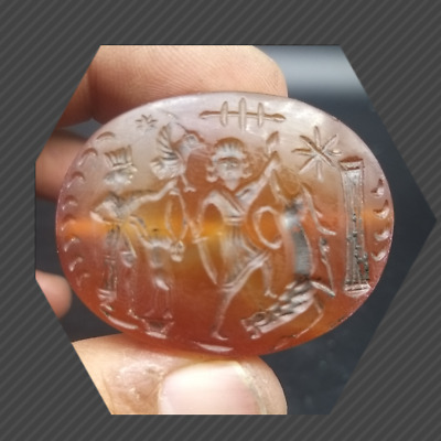 Roman King Hunting History Intaglio High Grade Agte Stone Stamp Bead