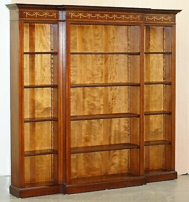 Mahogany & Walnut Marquetry Inlaid Breakfront Library Bookcase Part Of Suite