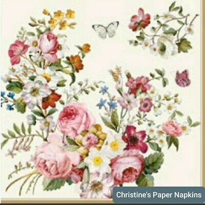 3 Paper napkins for Decoupage/Decopatch/Craft- Blooming Opulence Cream