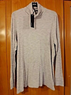M & S Autograph Grey Marl Ribbed T Shirt BNWT Size 18