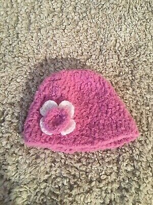 UK Hand-made Crocheted Girls Woolly Hat for ages 0-3 Months Xtra Soft Snuggly