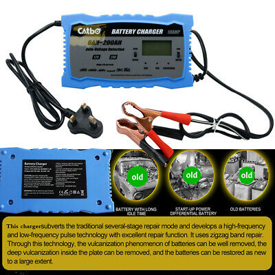 12V/24V Automatic Electronic Car Battery Charger Fast/Trickle/Pulse Modes 10 AMP