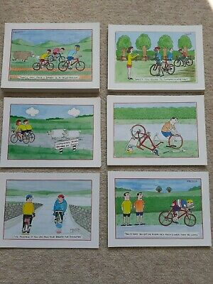 RARE Old Helms Cartoon Cycling Postcards - Six Scenes (Your Choice)
