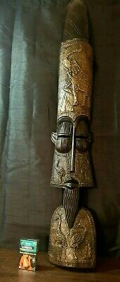 Mask African Carved Wood Special BIG Hand Vintage Art Wooden Face Decor 1190