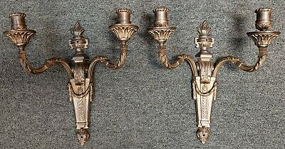 Pair of Circa 1920 French Art Nouveau Gilt Brass Torch and Tassel Wall Sconces