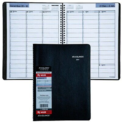 "2021 At-A-Glance DayMinder G520-00 Weekly Appointment Book, 8 x 11"", Black Cover"