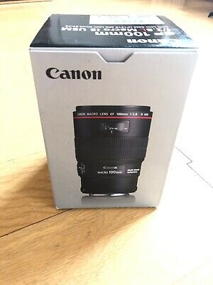 Canon EF 100mm F/2.8 L Macro IS USM Lens With Lens Caps And Hood Boxed