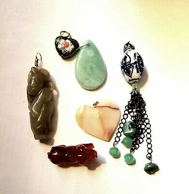 Vintage Chinese Jewelry Lot Pendants Carved Figurine Jade Carnelian stone