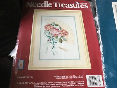 CREWEL STITCHERY kit ORNAMENTAL FAN NWOT made in USA unwanted gift