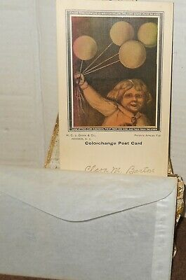 1908 Colorchange Postcard w/Envelope~Little Girl with Balloons~H.C.J. Deeks Co.