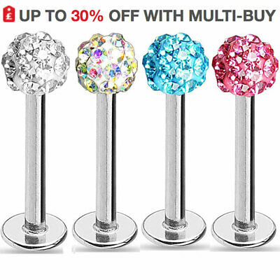 Labret Bar Tragus Bars Helix Monroe Nose Stud UK Cartilage Shamballa Gem Balls