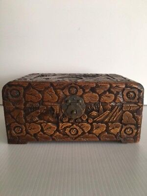 Antique Vintage Asian Camphor Wood H/Carved Chest-Chinese-Made In Hong Kong-10in