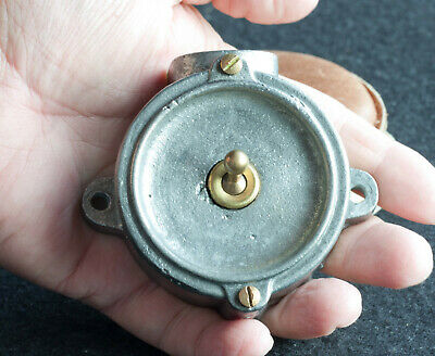 Vintage Industrial Round Cast Iron Crabtree Toggle Light Switch