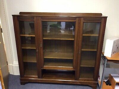 Vintage ,old Book Shelves / Display Cabinet , Solid Mahogany, 3 Glass Doors