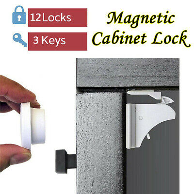 12PCS Magnetic Cabinet Drawer Cupboard Locks Child Kids Proofing Baby Safety F