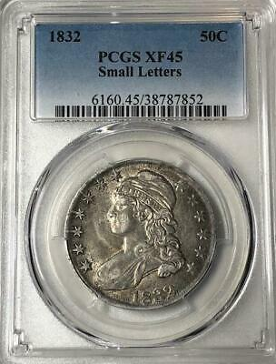 1832 50C Small Letters Capped Bust PCGS XF45 ~ Rare Early US Silver Half Dollar