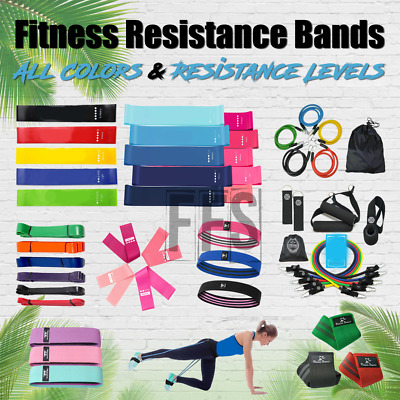 Fitness Resistance Band Loop Leg Arm Training Gym Single Or Set lot All Colors