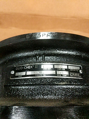 """Crane Duo-Check II Size 8"""" High Performance Steel Wafer Non-Slam check Valve - N"""