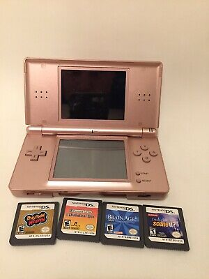 Nintendo DS Lite Metallic Rose Pink Handheld Console And 4 Games Bundle Tested