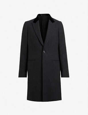 ALLSAINTS FARAGO CHARCOAL Grey Checked Wool Blend Coat 34