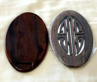 Vintage Carved Knot Wooden Folding Compact Mirror Vietnam Purse Make Up
