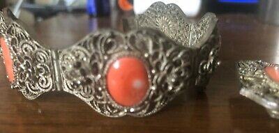 Antique Chinese Export Gilt Silver Filigree Coral Bracelet