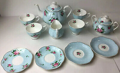 Brewed To A Tea Btat 12pc Tea Set 4 Cups Saucers Sugar Creamer Teapot Flowers