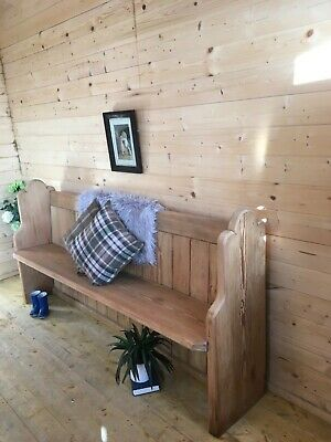 Antique vintage farmhouse country solid pine church pew monks bench settle