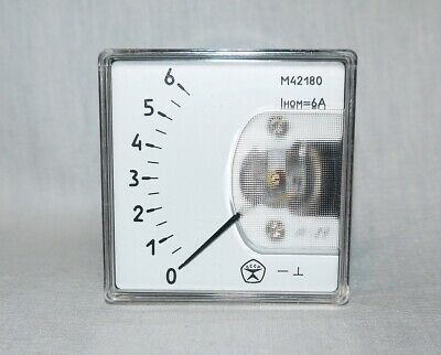 DC 0 - 6A Analog Dial panel Gauge Amper meter,  USSR, RARE! Lot of 1 pcs!